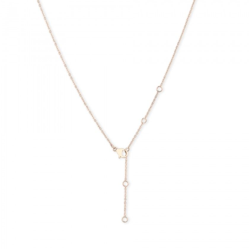 Golden stainless steel necklace with centered round plate