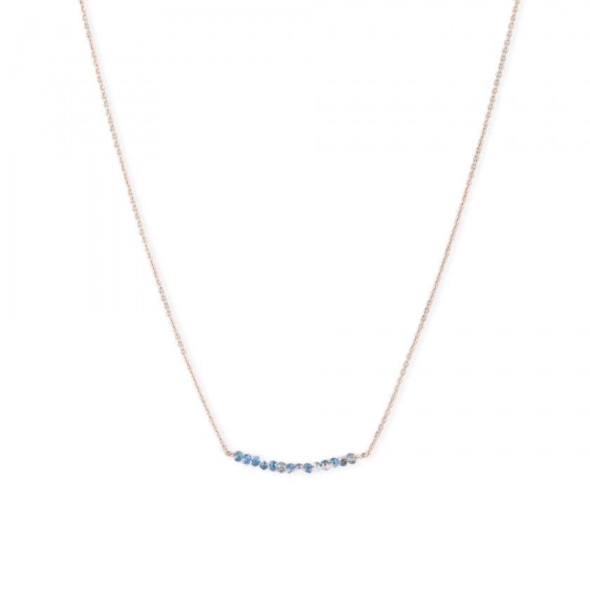 Fio dourado aço missangas azuis