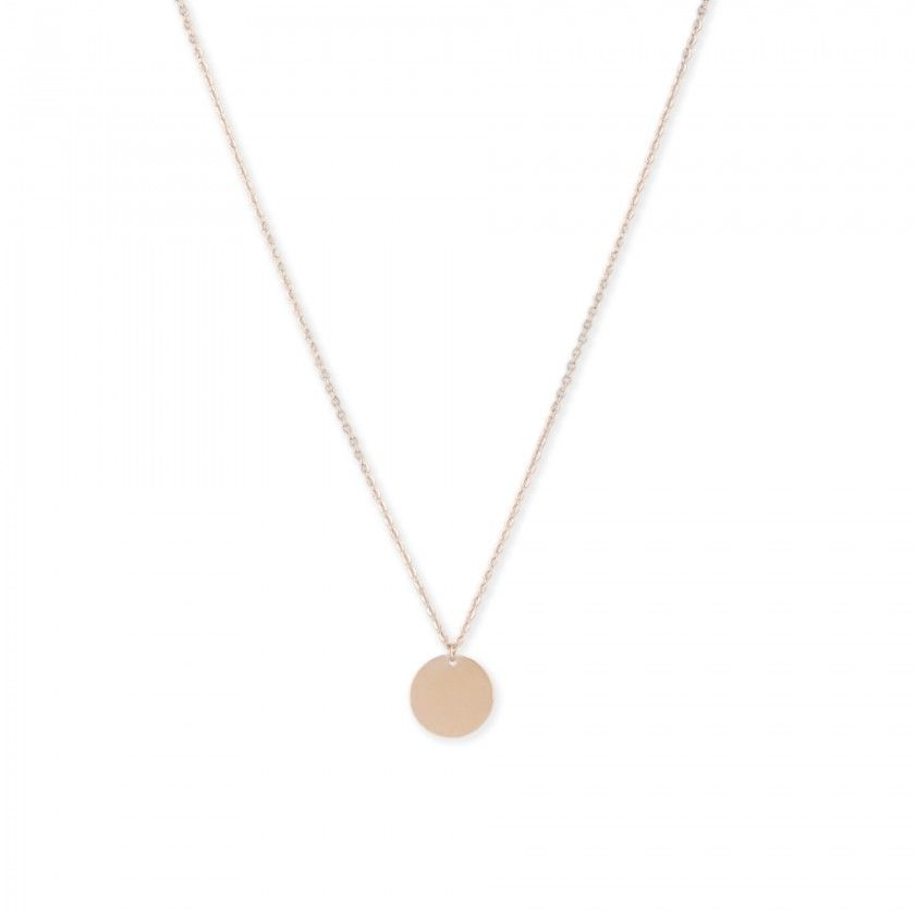 Golden stainless steel necklace with large round centered plate