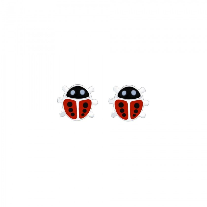 Silver Ladybug Stud Earrings