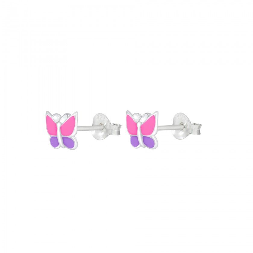 Brincos prata borboleta rosa