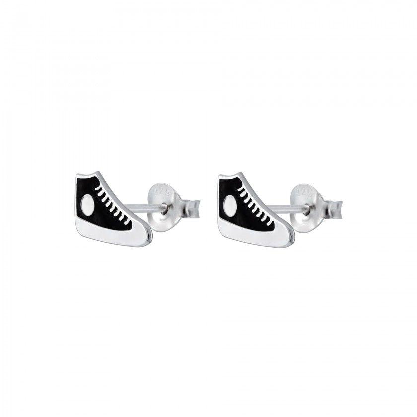 Silver sneaker stud earrings