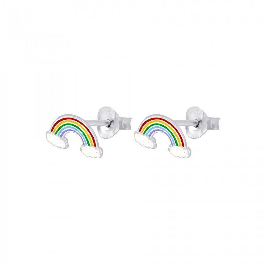 Silver rainbow stud earrings