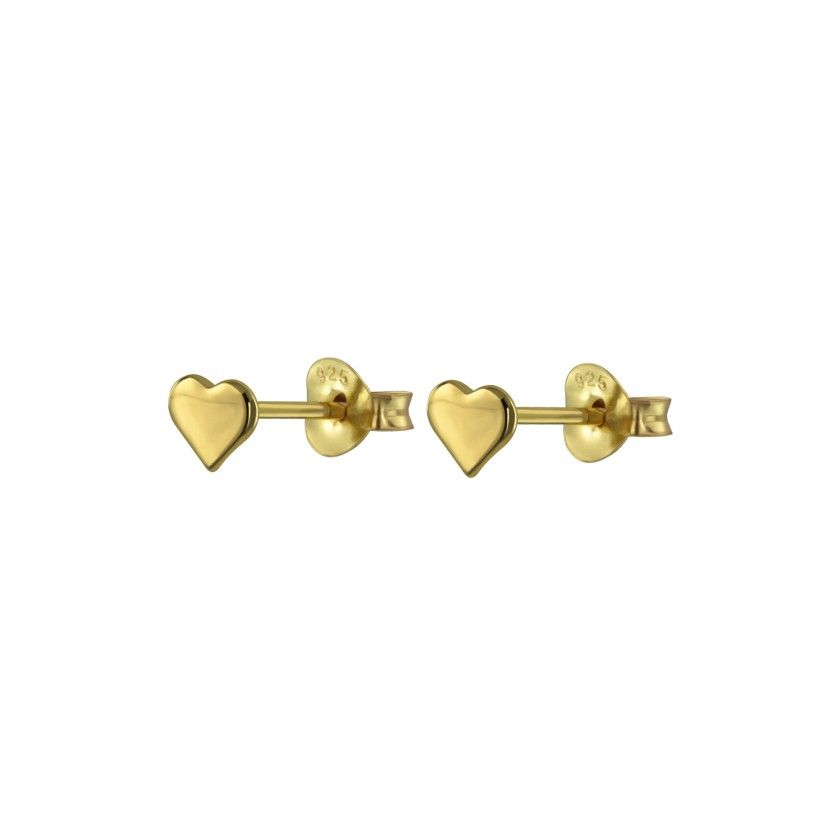 Brincos prata dourada coração