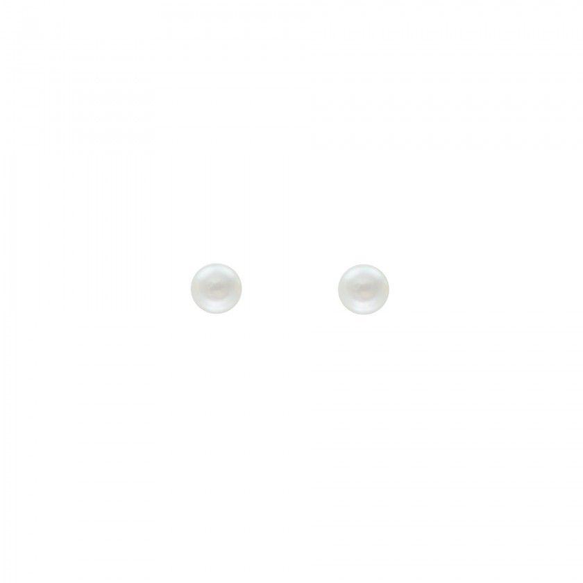 Fresh water pearl silver stud earrings - White