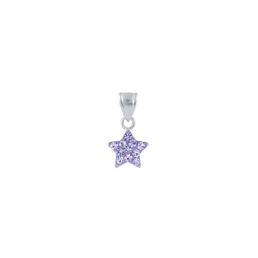 Silver Crystal Star Pendant - Violet
