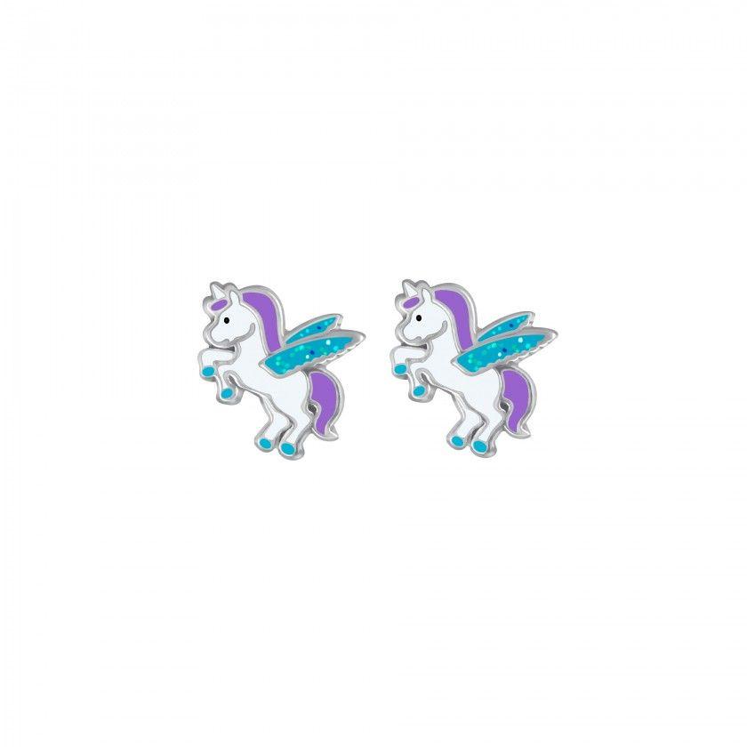Silver winged unicorn stud earrings