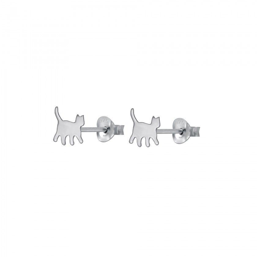 Silver cat stud earrings
