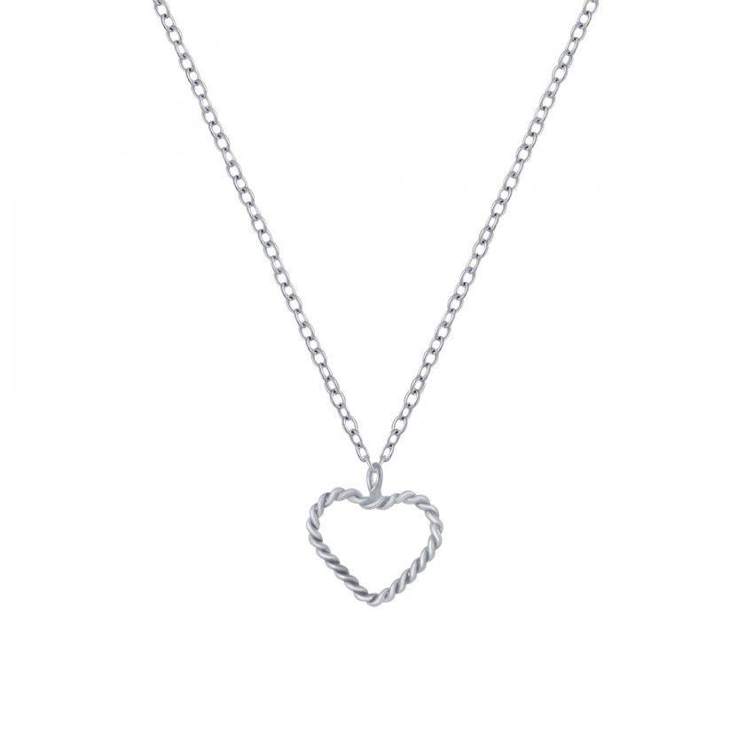 Fio prata pendente coração outline
