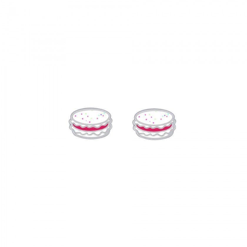 Silver macaron stud earrings