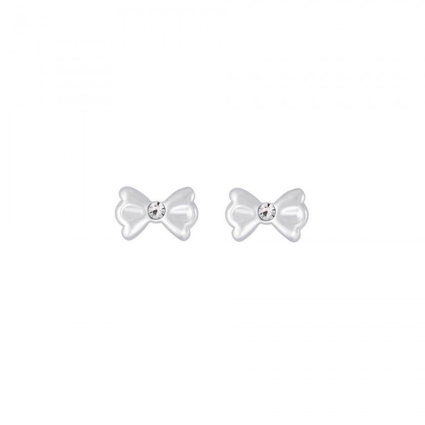 Silver bow stud earrings - Rose