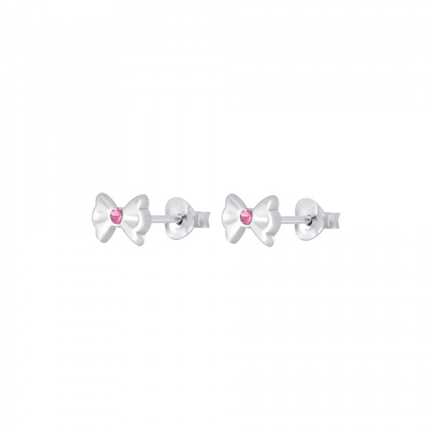 Silver bow stud earrings
