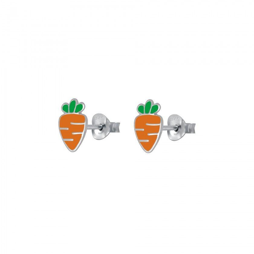 Silver carrot stud earrings