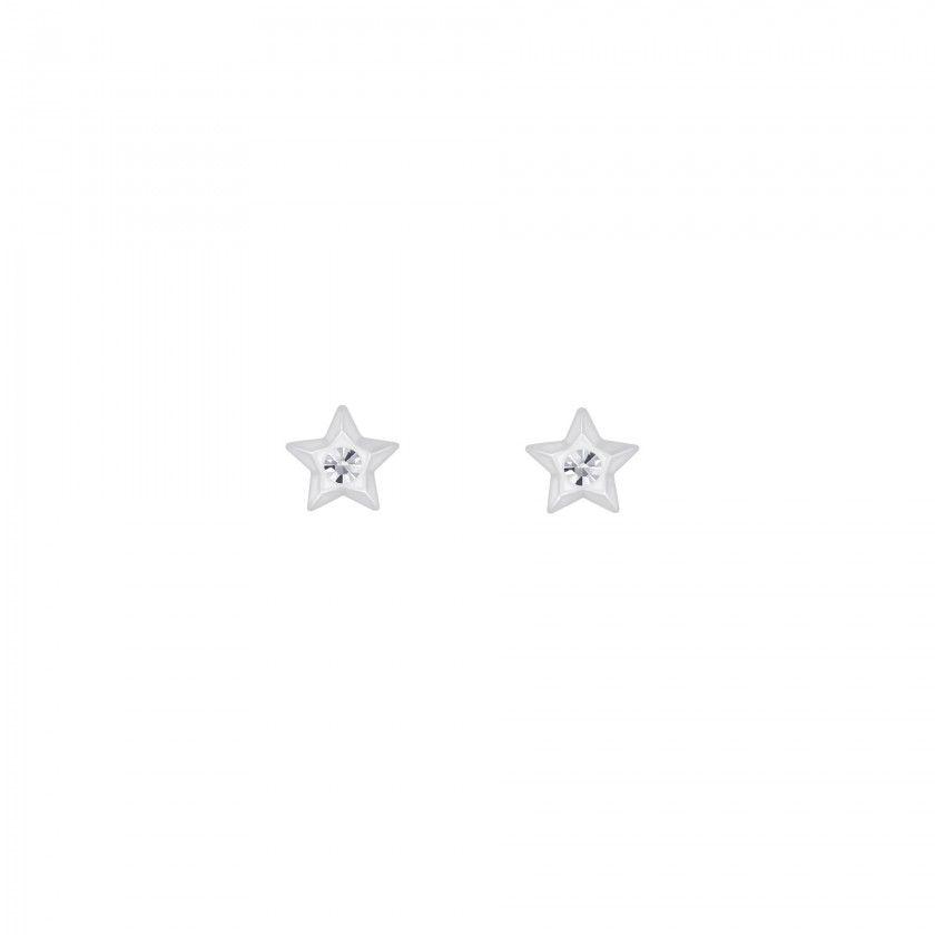 Silver star crystal stud earrings - Crystal