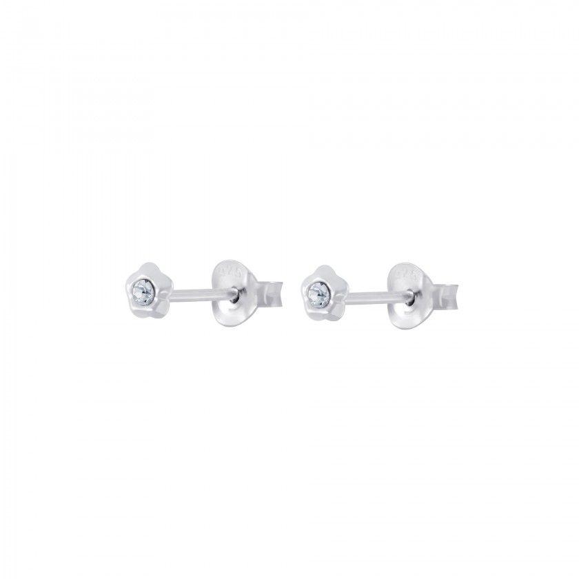 Brincos prata flor cristal