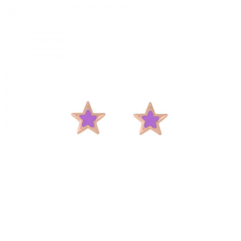 Brincos prata estrela roxo