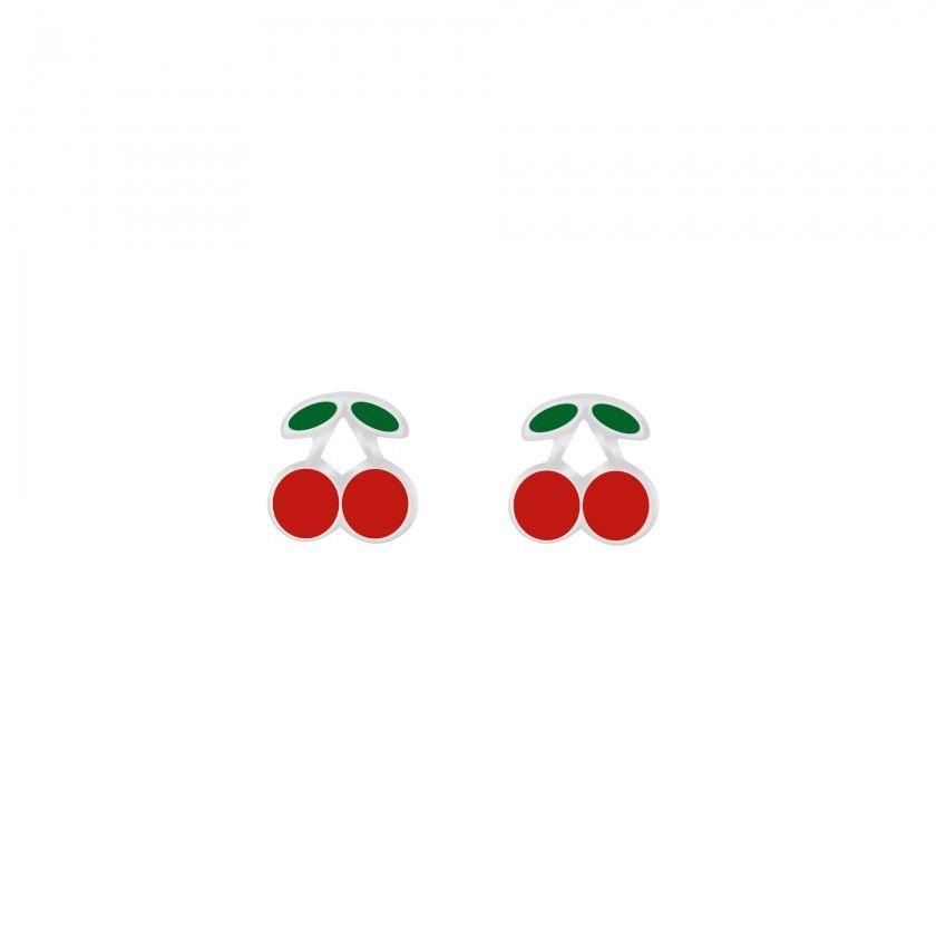 Silver cherry stud earrings