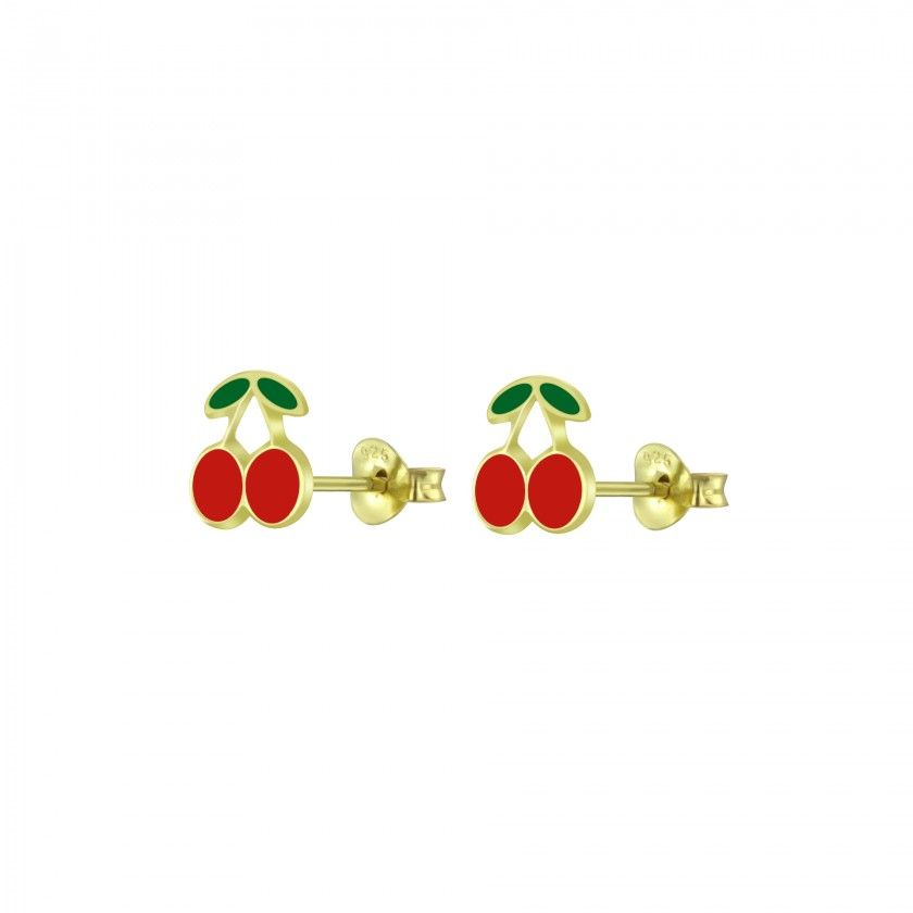 Silver cherry stud earrings