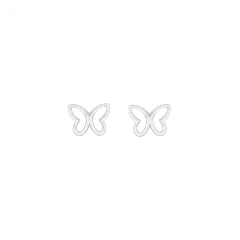 Silver butterfly screw back earrings