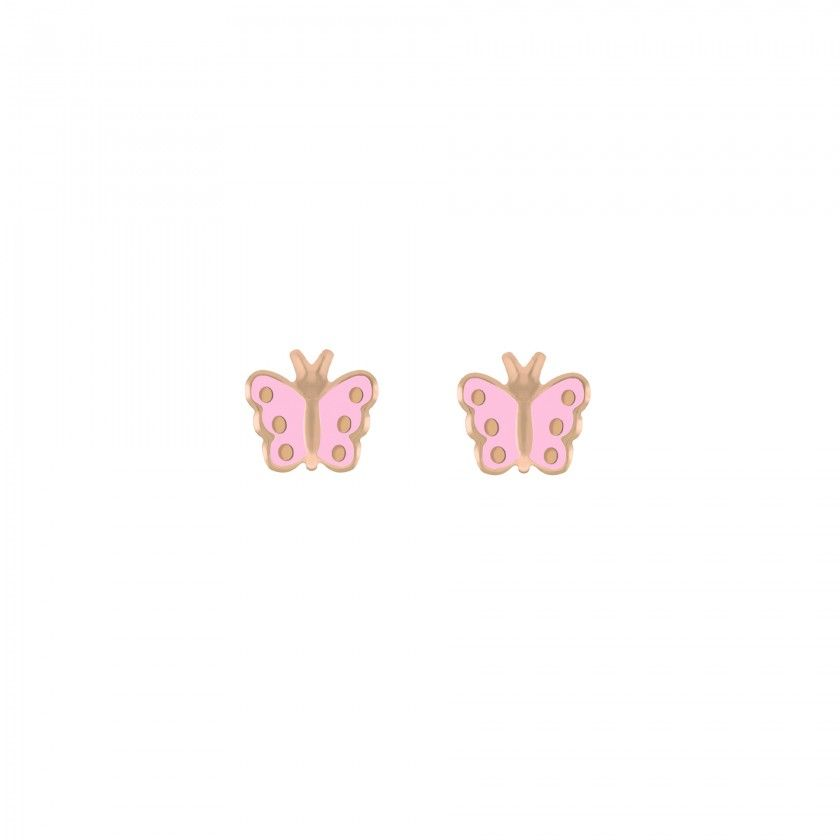 Brincos prata dourada rosa borboleta rosa