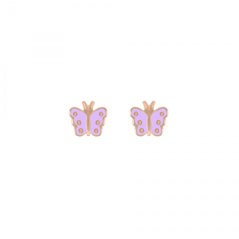 Brincos prata dourada rosa borboleta lilás