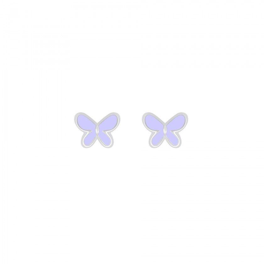 Brincos prata borboleta mini lilás