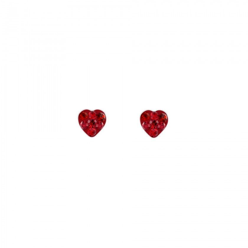Silver heart screw back earrings - Rose