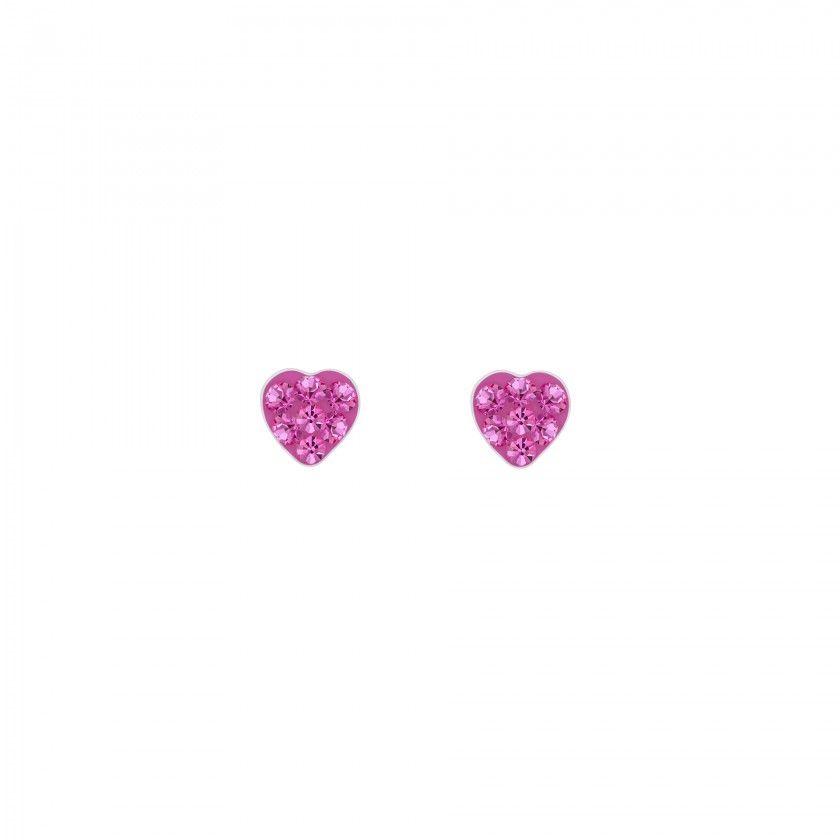 Silver heart screw back earrings - Crystal
