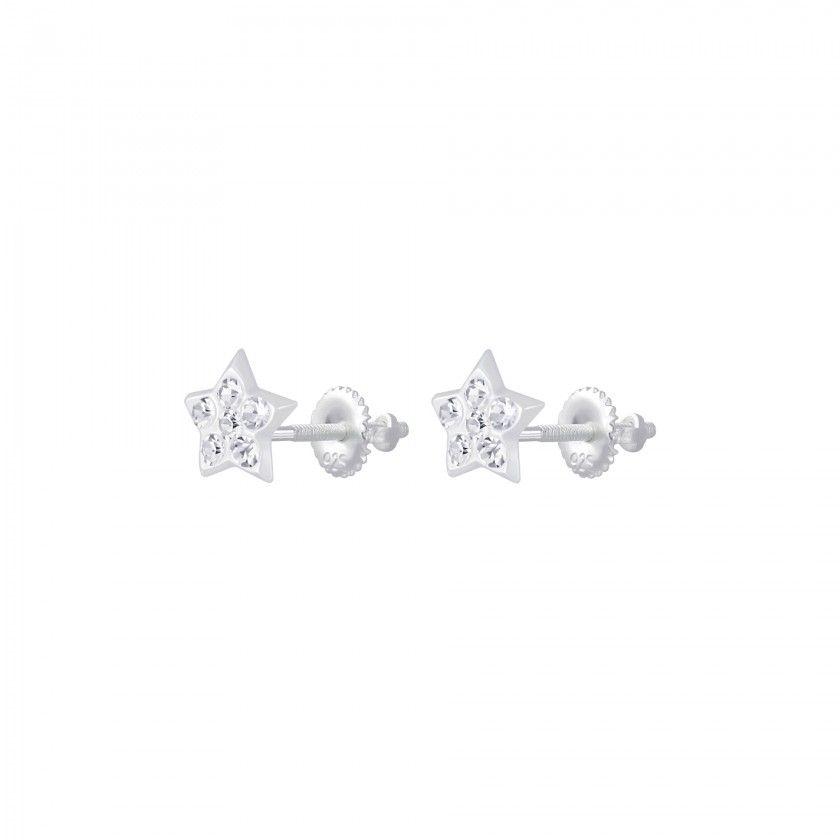 Silver star crystal screw back earrings - Crystal