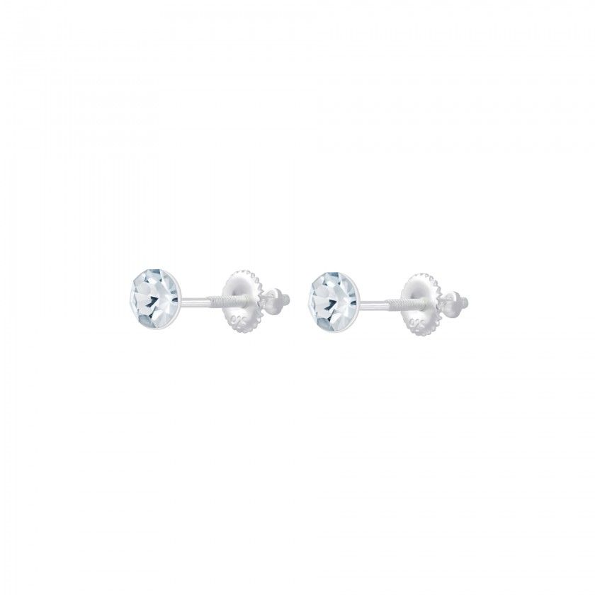 Round crystal silver screw back earrings - Crystal