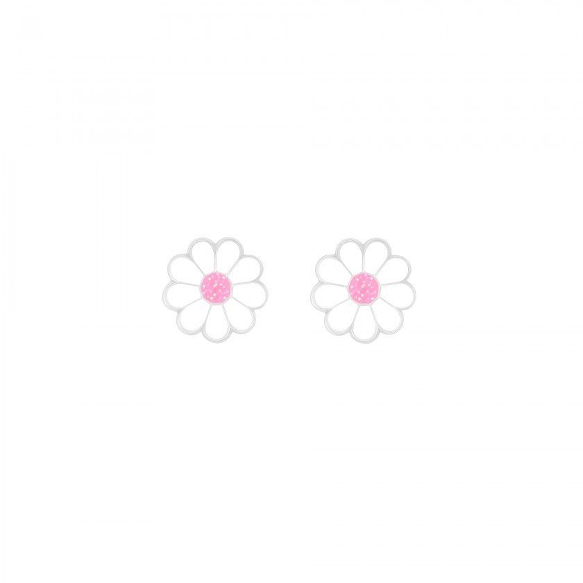 Silver daisy screw back earrings