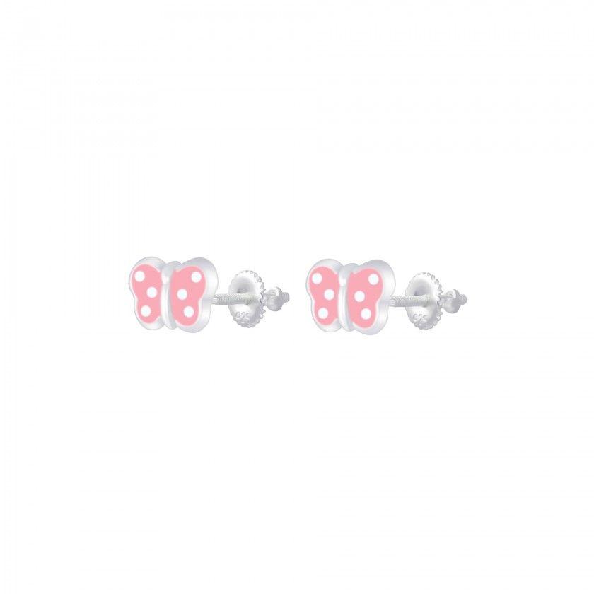 Brincos prata borboleta pintas rosa