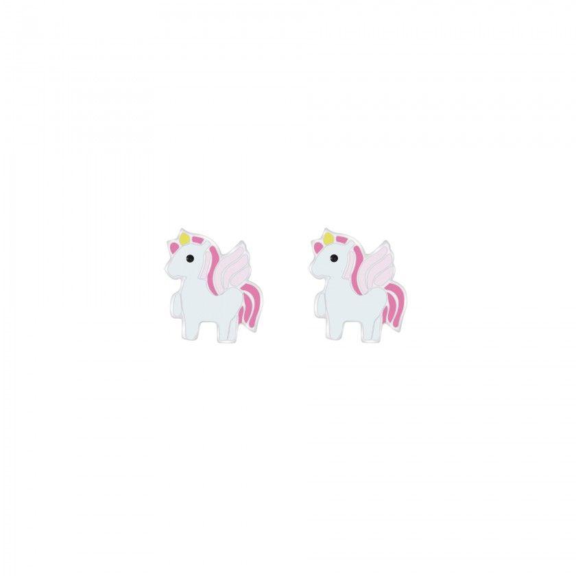 Brincos prata mini unicornios