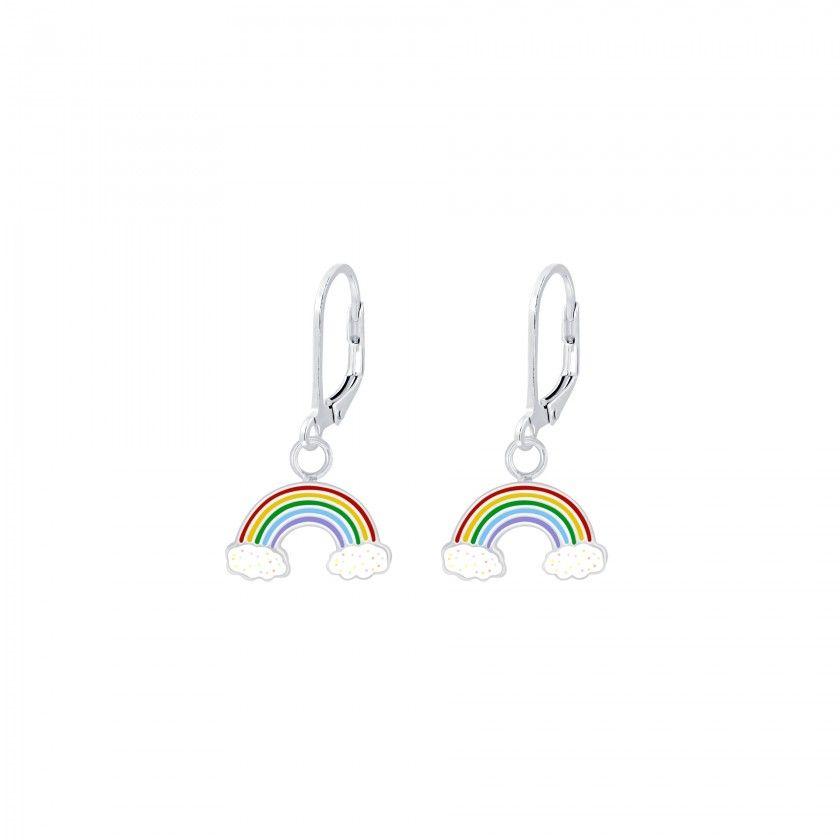 Silver Rainbow Lever Back Earrings