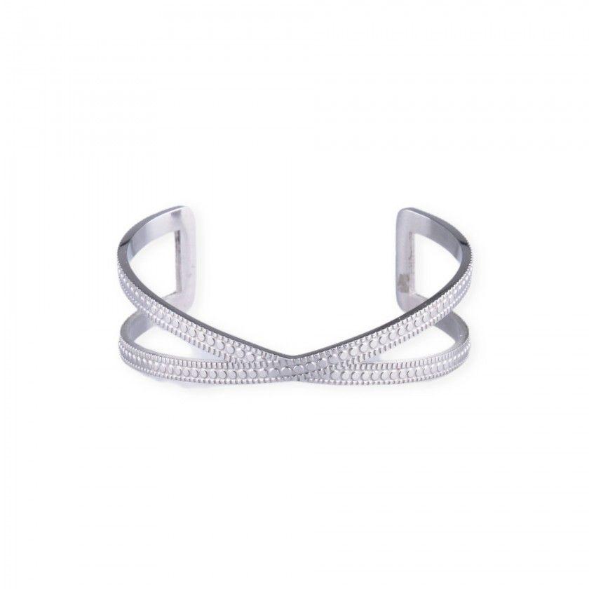 Silver stainless steel cross bracelet