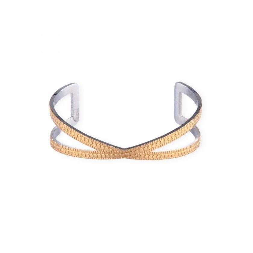 Golden stainless steel cross bracelet
