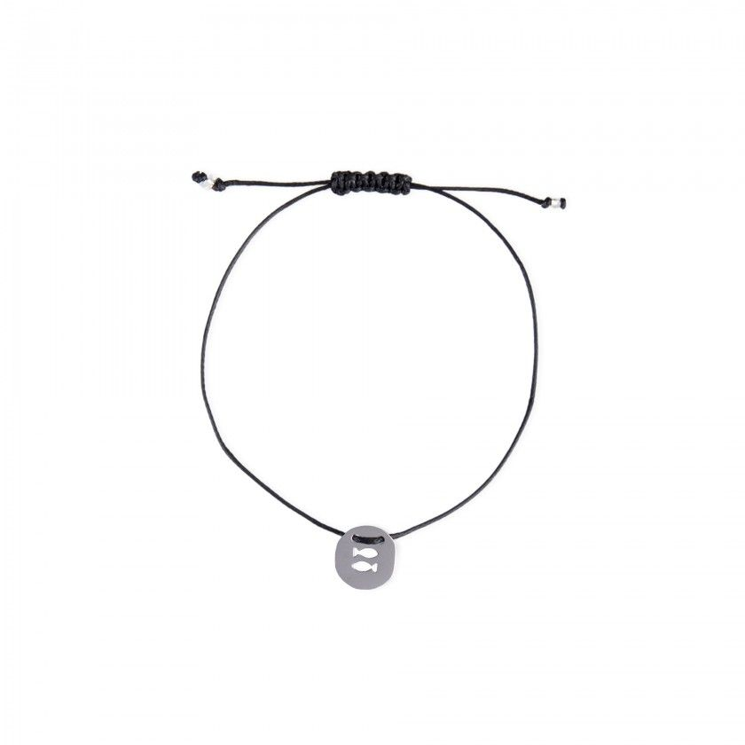 Pisces silver with cord bracelet