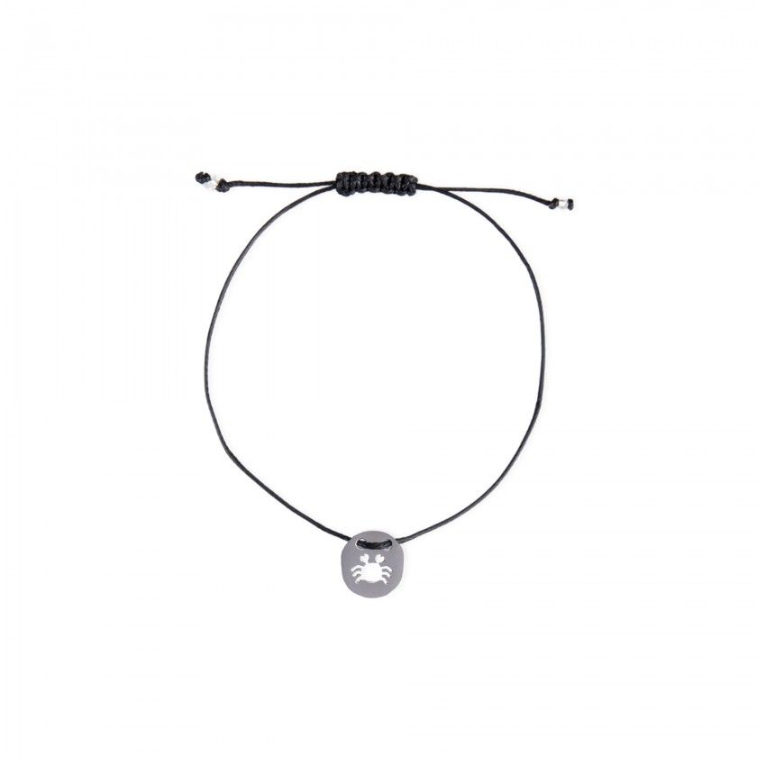 Cancer silver with cord bracelet