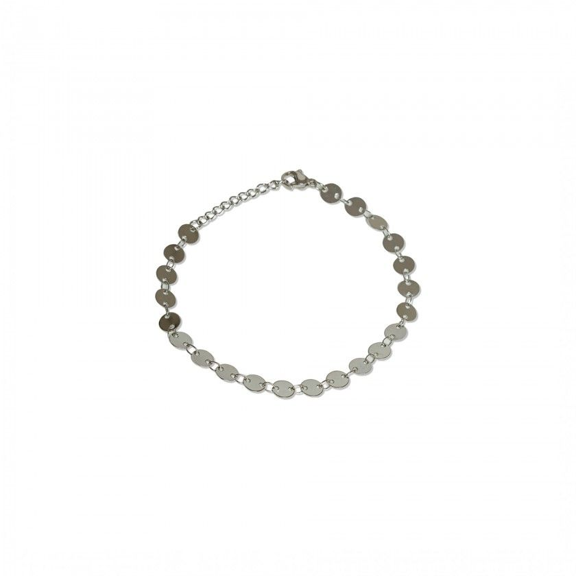 Stainless steel bracelet with silver plates