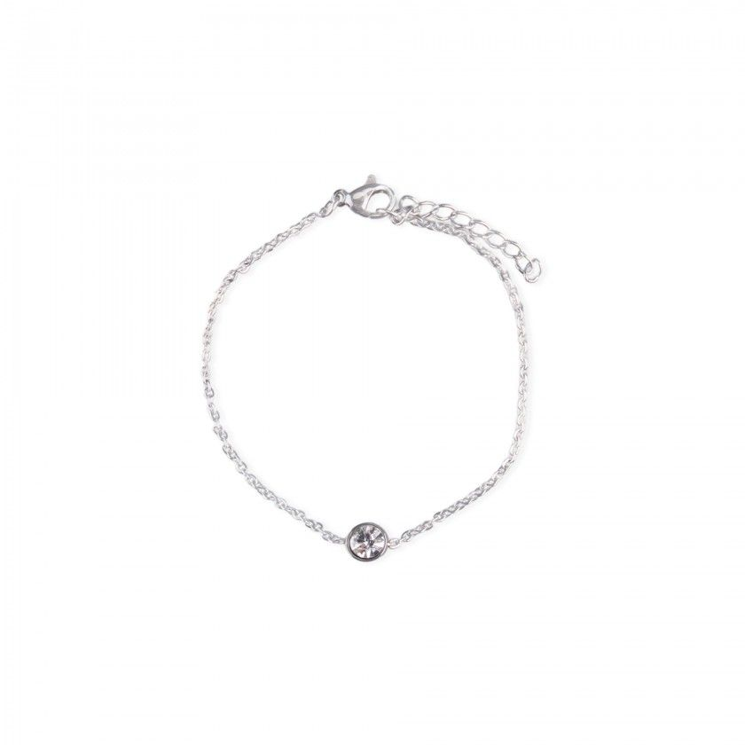 Stainless steel bracelet with small silver brilliant