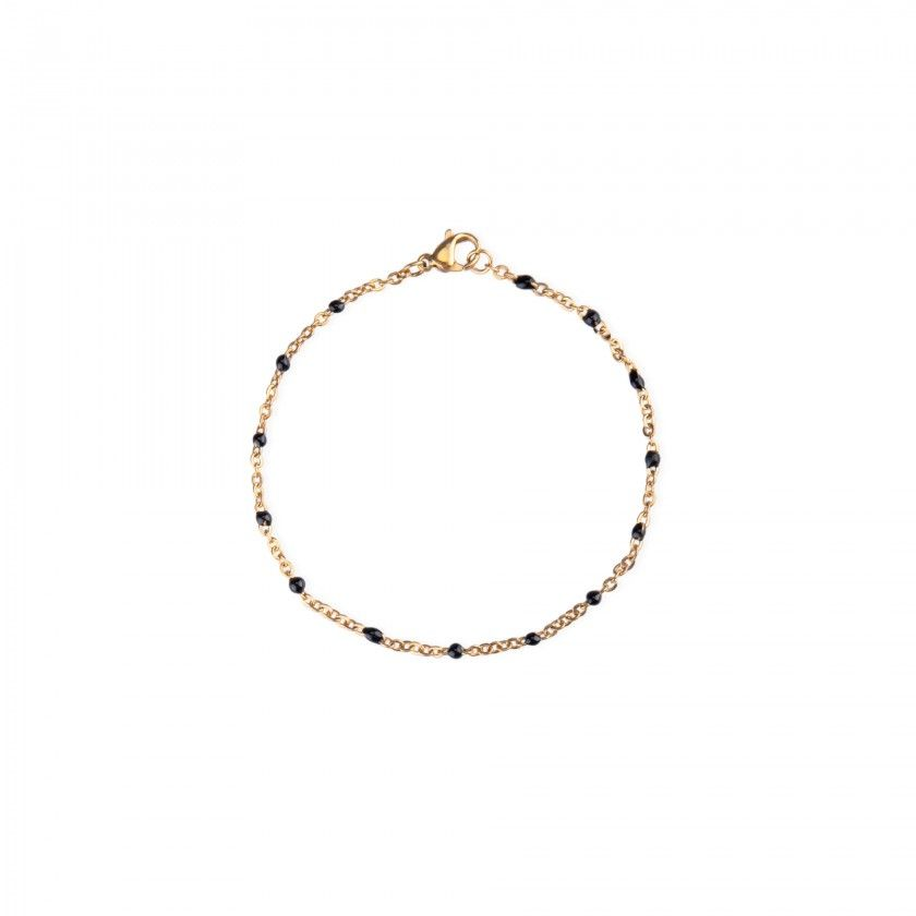 Golden stainless steel bracelet with small black beads