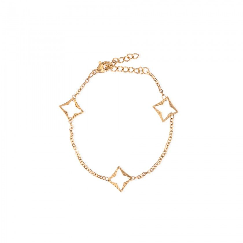 Pulseira aço dourada quadrado e estrela