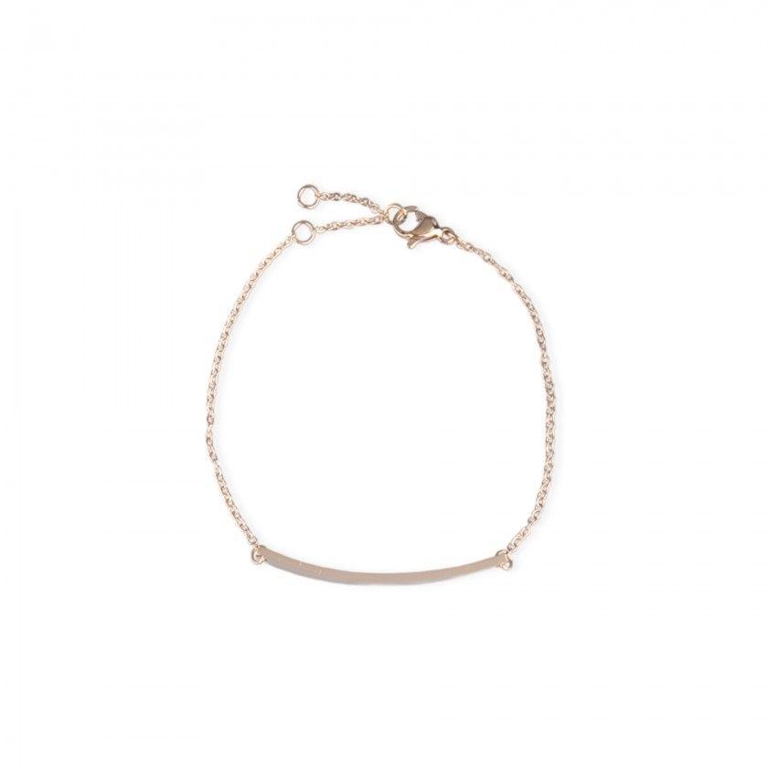 Golden stainless steel bracelet with rectangular plate