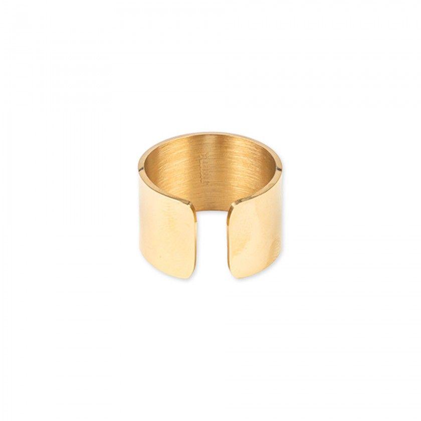 Anel largo aço dourado