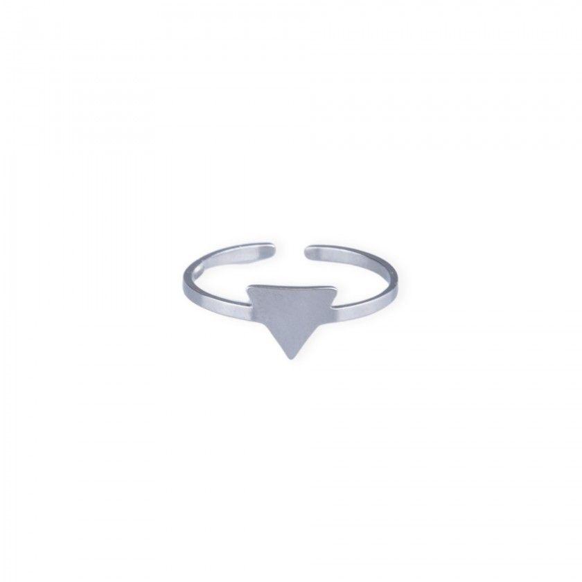 Anel steel triângulo prateado