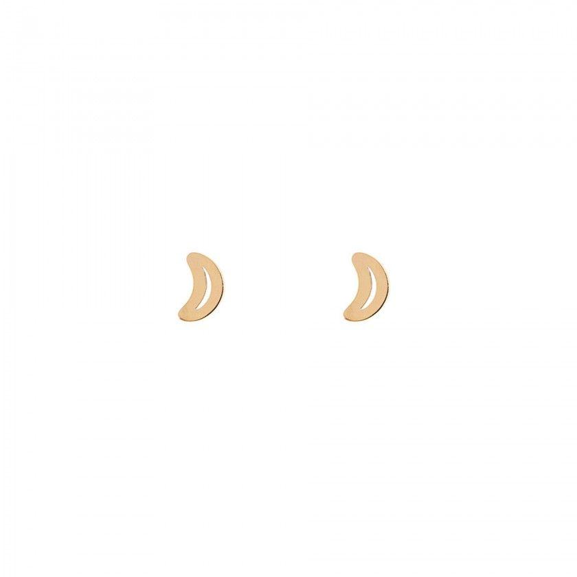 Brincos aço meia lua dourado
