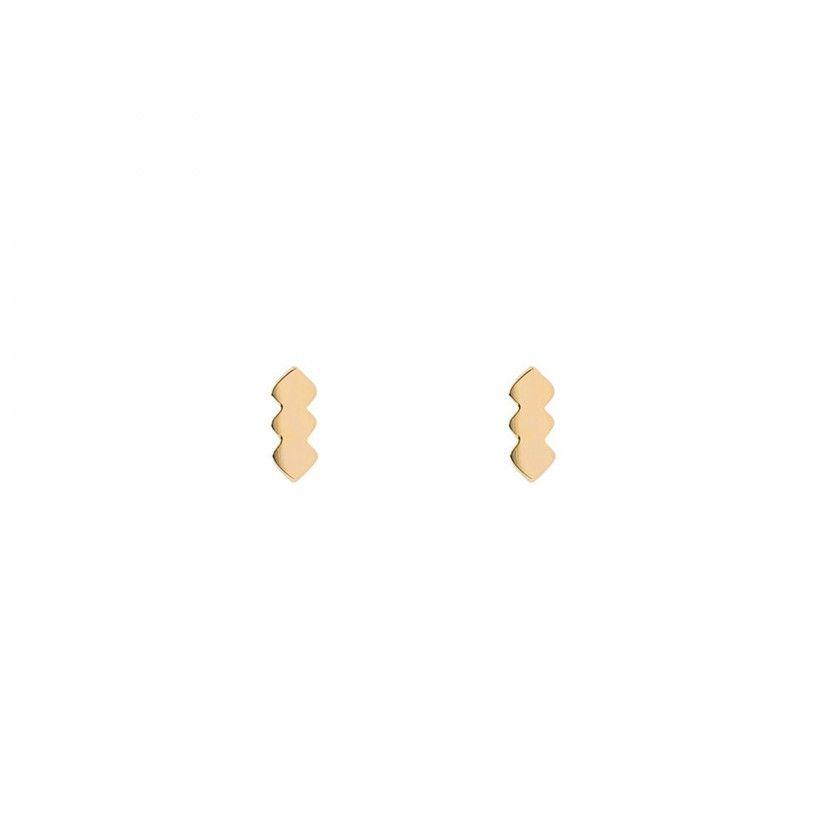Brincos aço chevron dourado