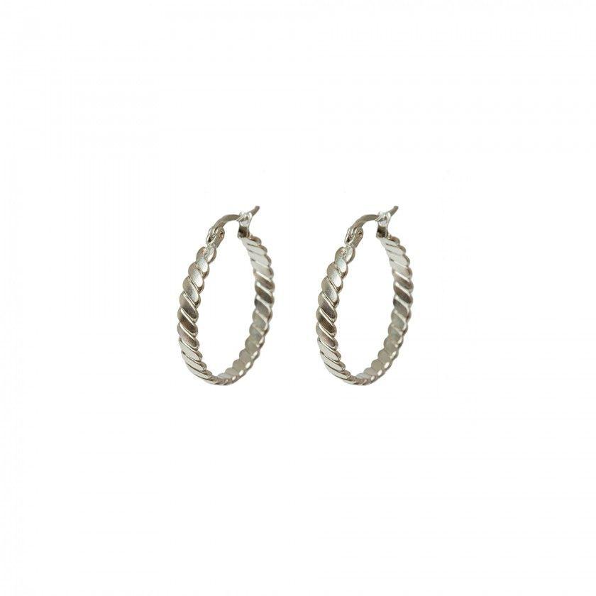 Silver twisted stainless steel hoop earrings