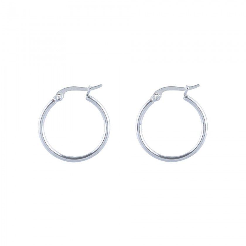 Silver simple stainless steel hoop earrings