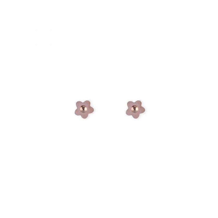 Stainless Steel Rose Gold Flower Earrings